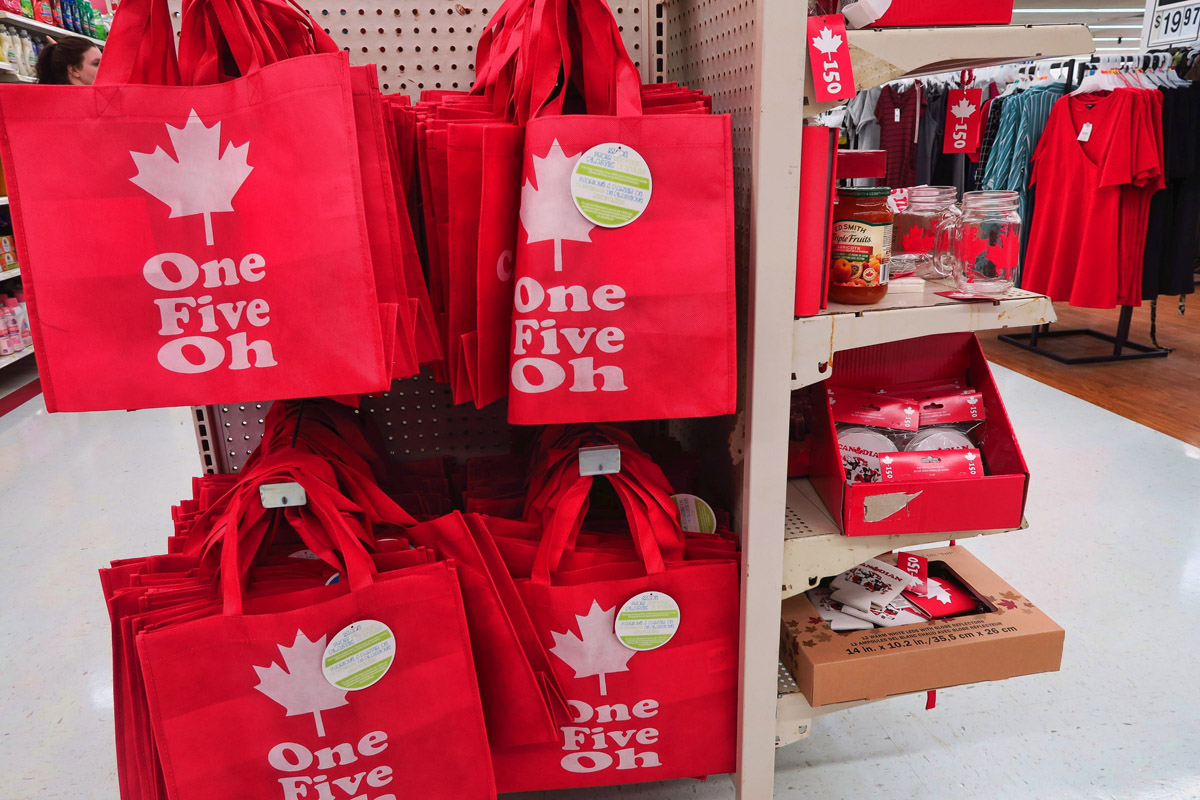 Lots of items for sale celebrating Canada's 150th.