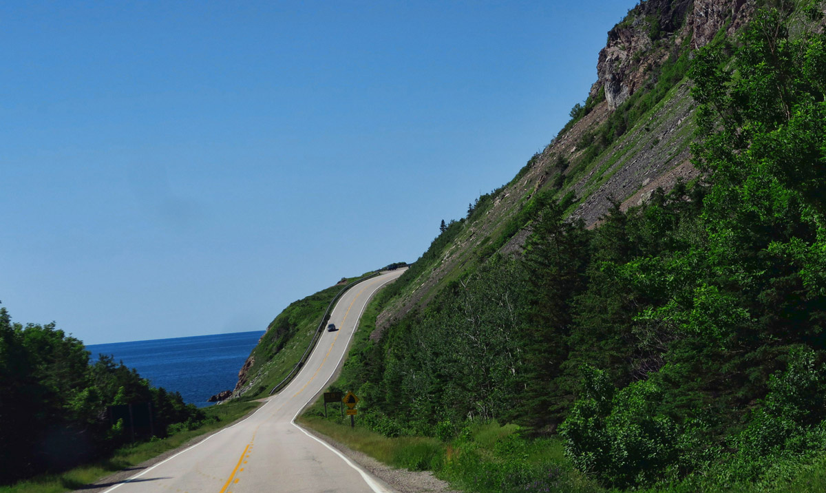 The roads in Cape Breton Highlands National Park are a bit steeper than I am accustomed to driving in the Winnie!