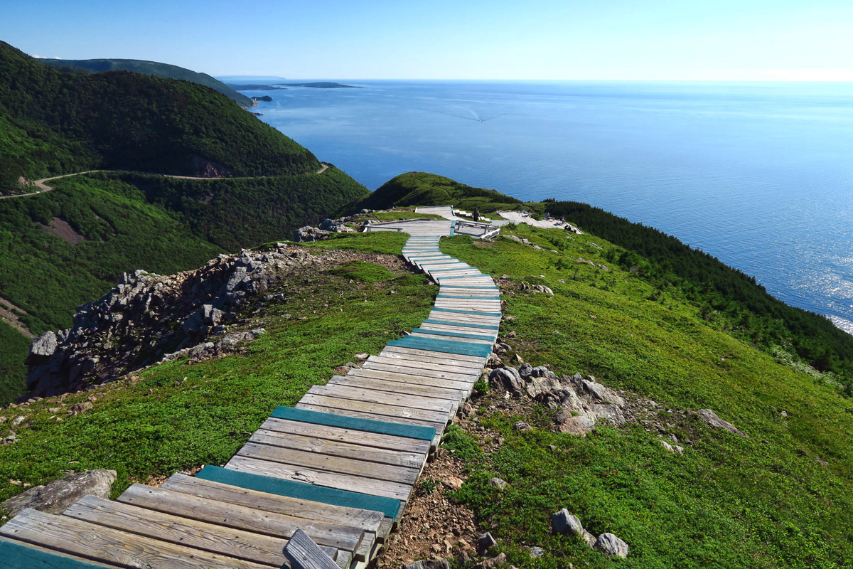 The Skyline Trail is considered Cape Breton's most scenic hike, especially at sunset. The boardwalk was installed to minimize impact on the tundra.