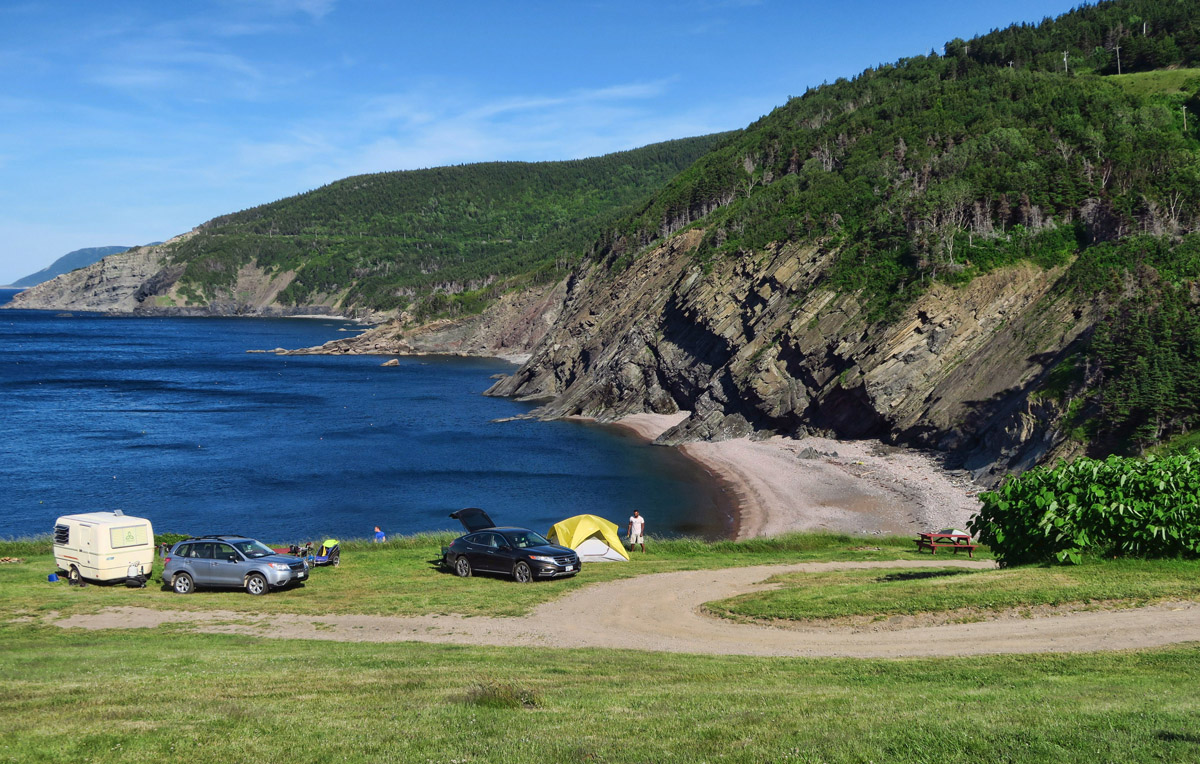 Meat Cove has a campground. There were several truck campers here, and a couple of small trailers, thought it looked like it would be tough getting level.