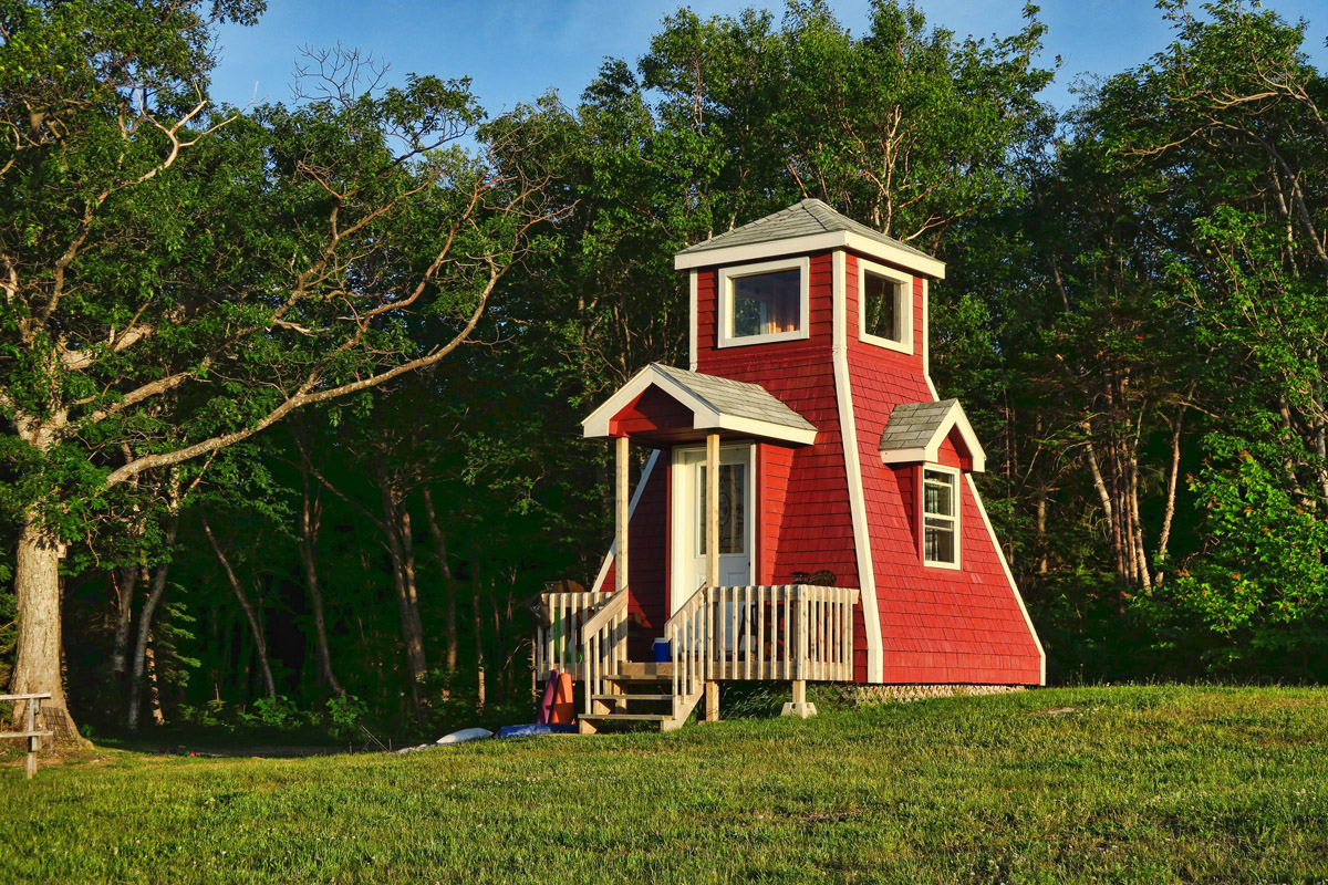If you always wanted to overnight in a lighthouse, Hide Away Campground has just the cabin for you!