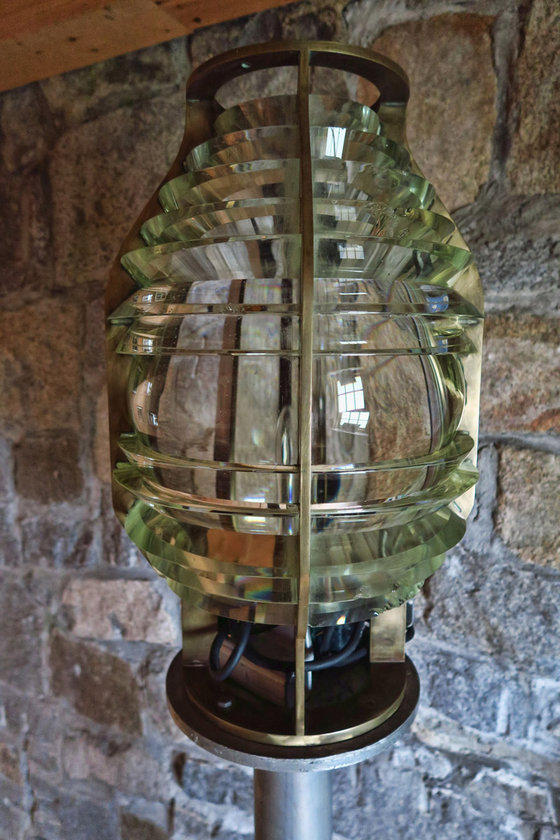 All that remains of the original 4th Order Fresnel lens is a strip of the beveled glass, however they have this pristine 6th Order lens on display.