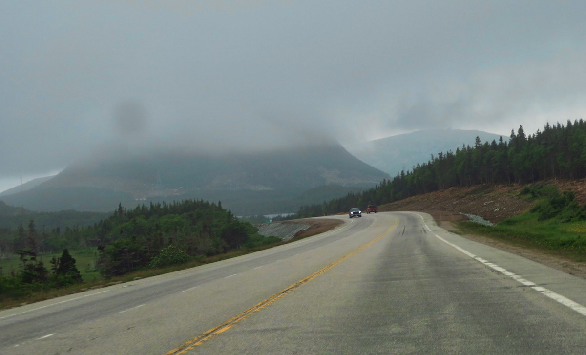 Leaving the southern coast of Newfoundland, the fog begins to lift...