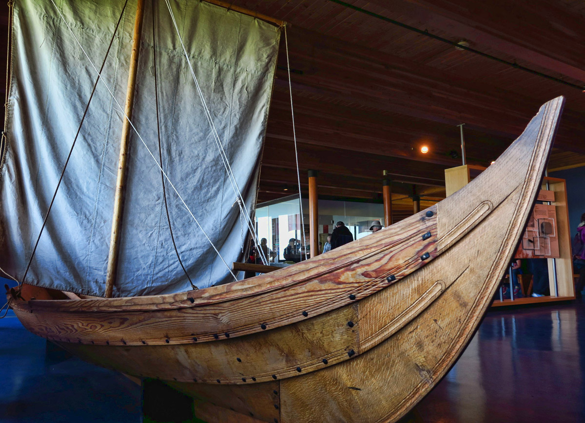 Inside the Visitor Center at the L'Anse aux Meadows site is a replica of a Viking Ship based on drawings in the Norse Sagas.