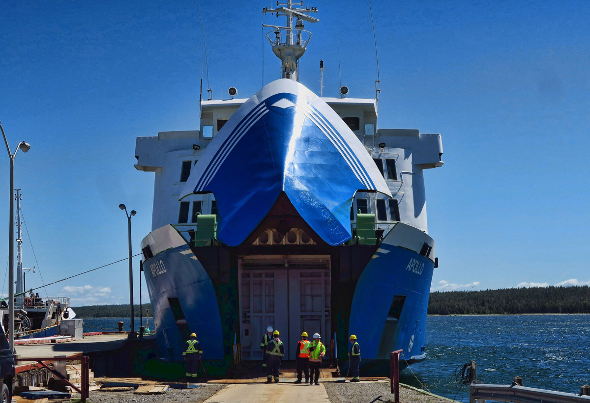 We actually load into the bow of the boat. Strange to see it raise up and the giant doors open.
