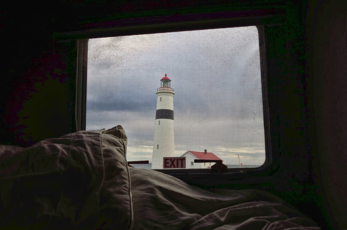 I finally decide on whales out the side window, lighthouse out the back bedroom.