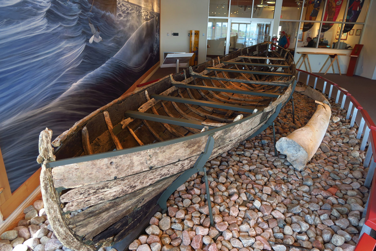 "This 400 year old ""chalupa"" or wooden boat, was used by the Basque for hunting whales."