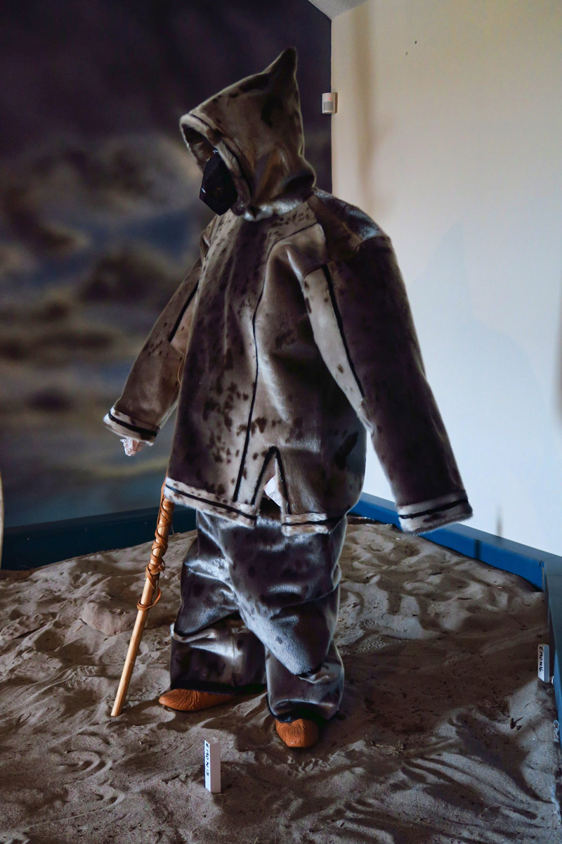 This bizarre stick figure wearing a seal skin suit is part of the display at Port aux Choix. Go for the lighthouse, skip the display.