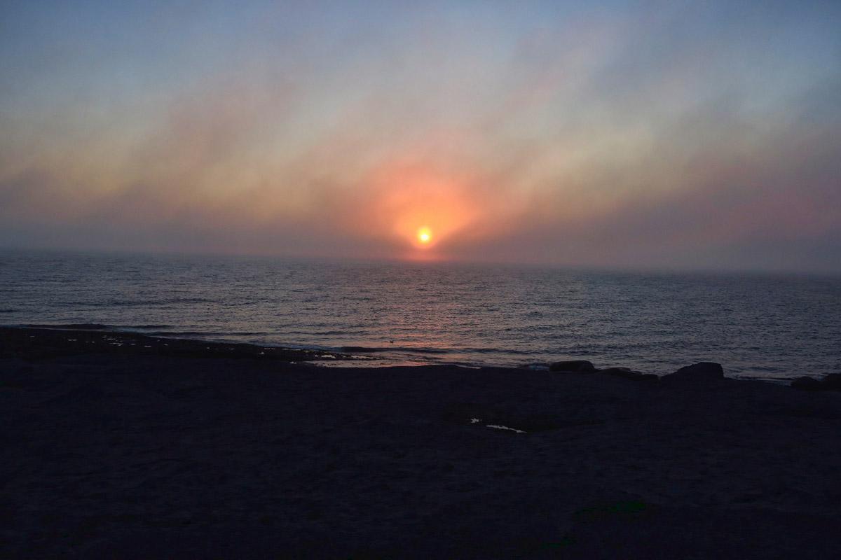 Sunset through the fog.