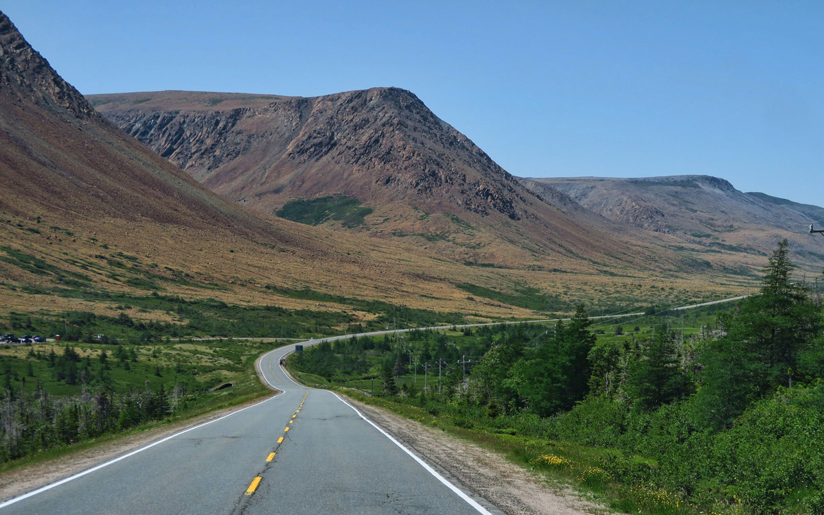 The road to Trout River really demonstrates how the Periodite rock is so unique. On the right of the highway is dense green forest, and on the left is burnt orange rock.