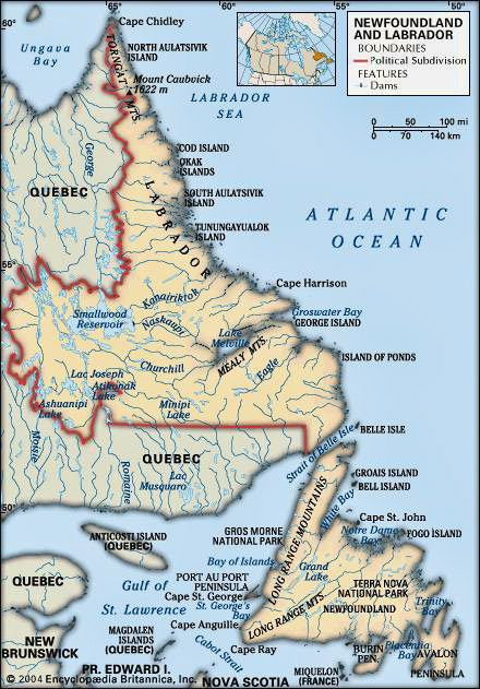 This map, borrowed from Encyclopedia Britannica is a good depiction of how Newfoundand (the island) and Labrador (the mainland) are separated.