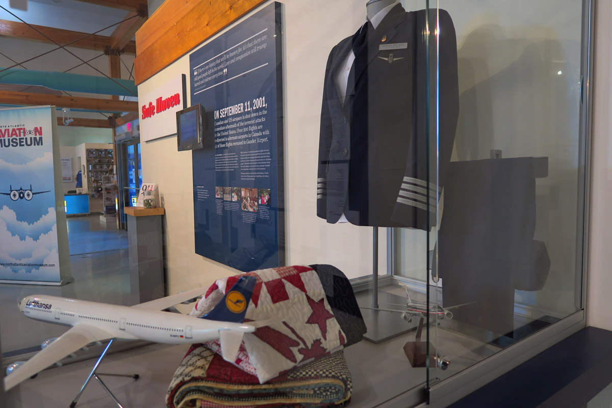 On display are several gifts sent from those stranded, including the uniform of the Captain of an AA flight.