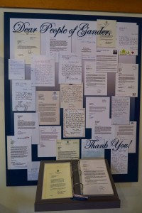On the wall are just a few of the Thank You notes sent to the town of Gander.