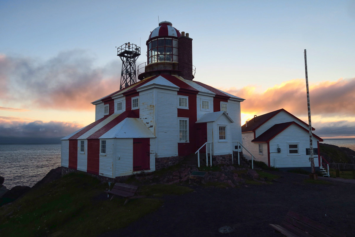 Cape Bonavista Lighthouse, in operation from 1843 to 1962. It was foggy the evening I arrived, so I boondocked nearby to see if I had better luck the next morning.