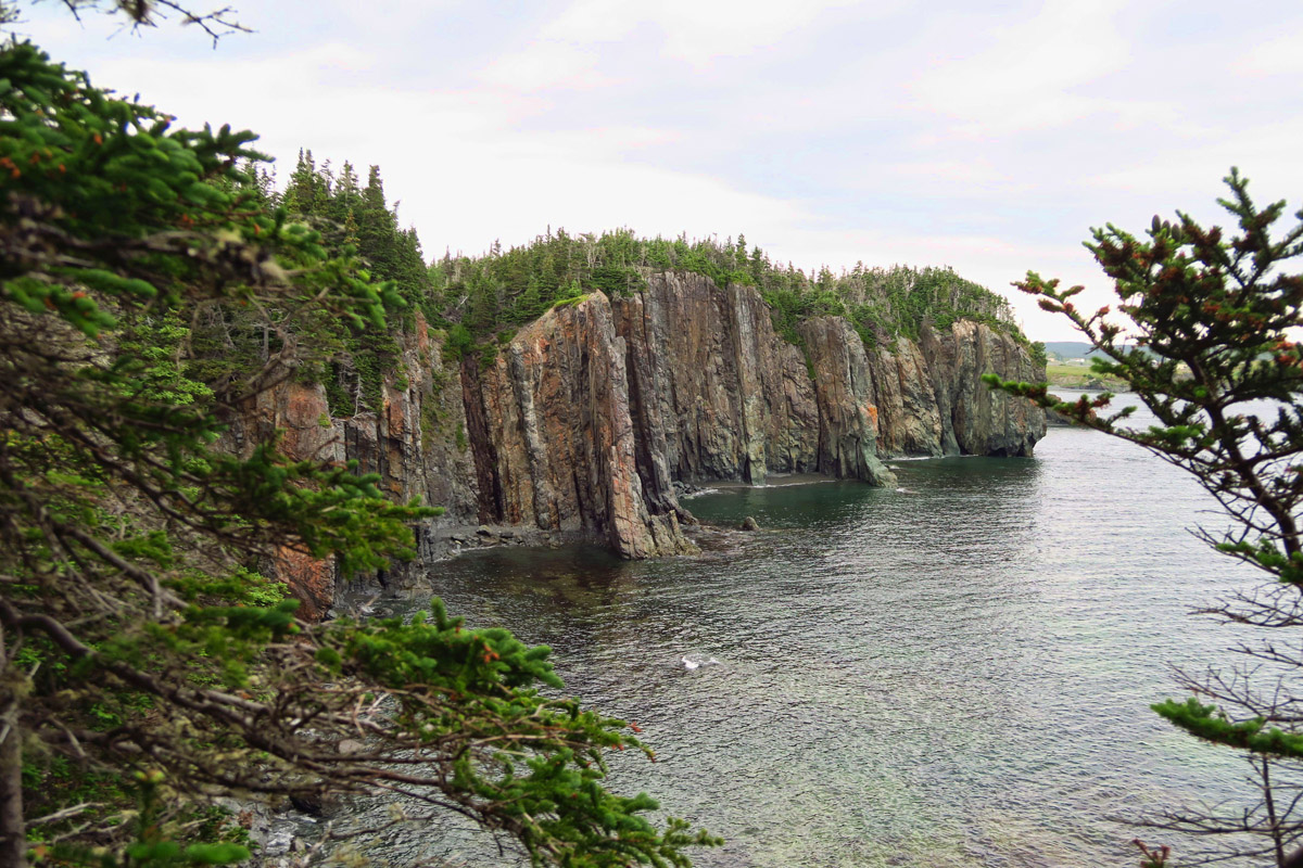 The side of the Skerwink Head trail facing Rexport Bay is very steep and rugged.