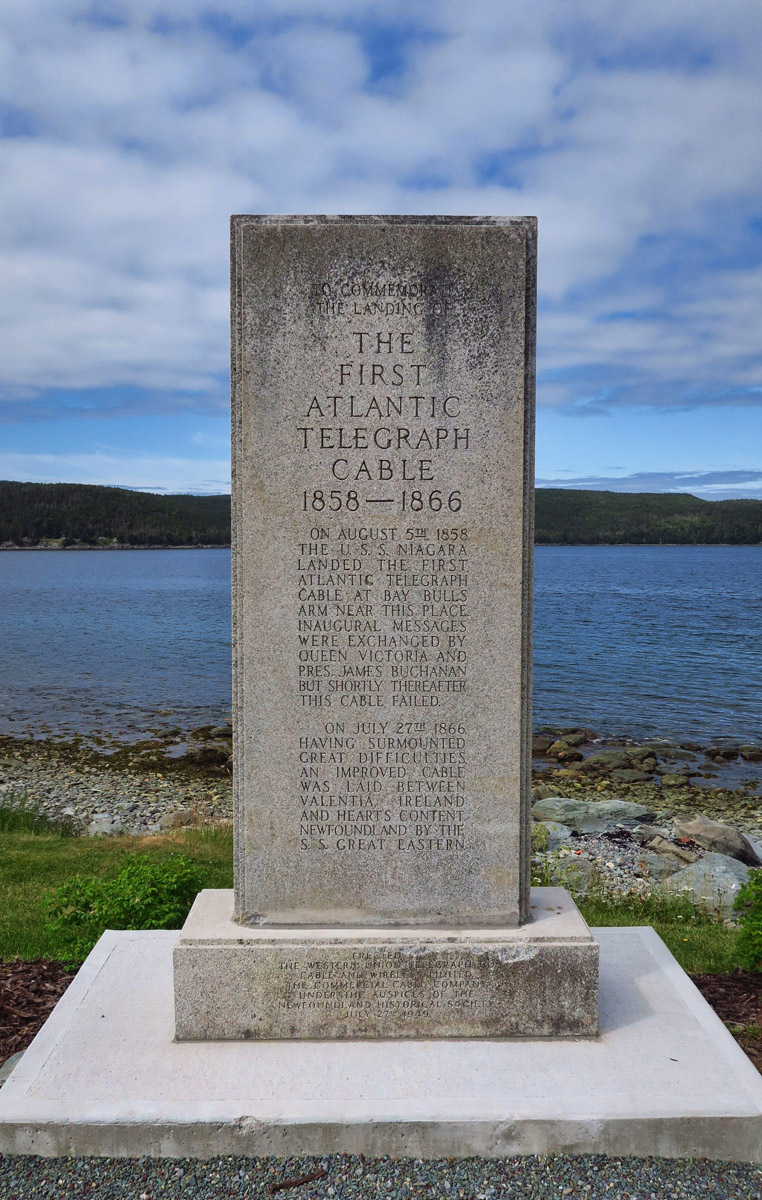 Monument to both cables, the one in 1858 that failed, and the success in 1866.