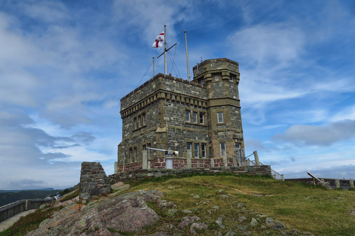 Cabot Tower, built 1897 to commemorate 400th anniversary of John Cabot discovering the indigenous peoples inhabiting Newfoundland.