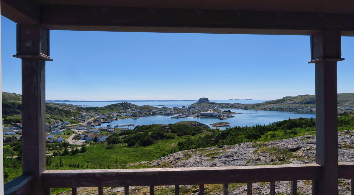 View of the town of Fogo from the front porch of the Marconi Interpretive Center. The large hill is Brimstone Head.