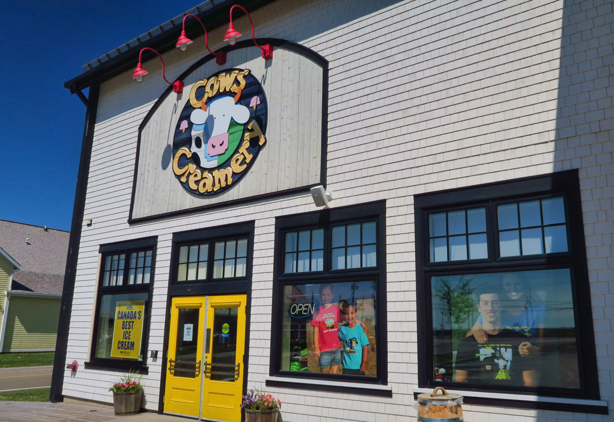 "PEI's famous ""Cows Creamery"" sells butter, cheese, and of course what is billed to be ""Canada's Best Ice Cream."""
