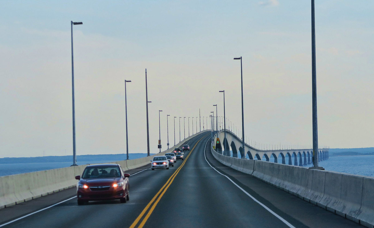 Crossing the 8 mile Confederation Bridge over to New Brunswick.