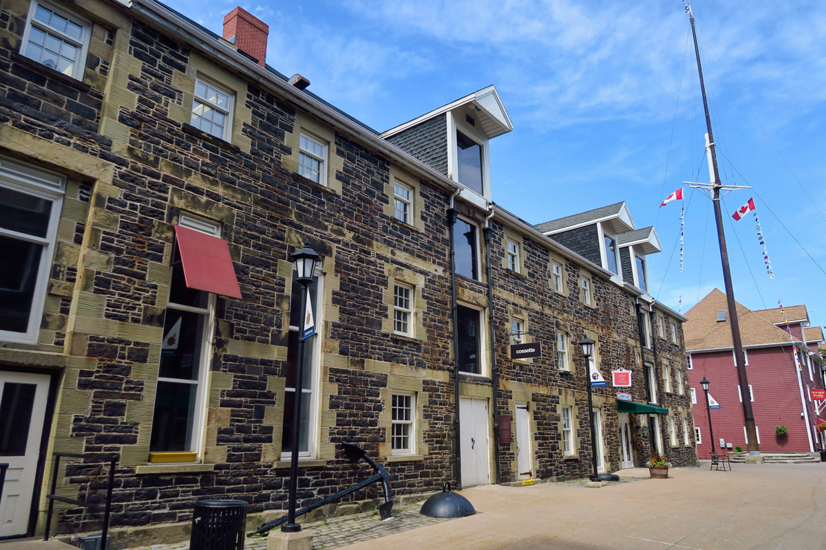 The waterfront contains a group of Historic Properties, seven restored warehouses built between 1815 and 1905.
