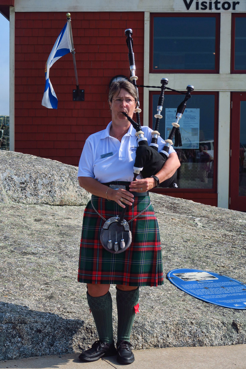 In front of Peggy's Cove Visitor Center was the first female bagpipe player I have ever come across. She never skipped a note!