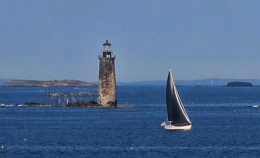 Ram Island Ledge Light, which sits offshore from Portland Head. First lit in 1905 by underwater cable, it is now solar powered.