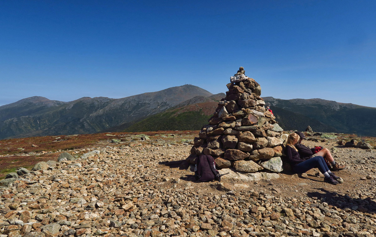 This hike follows the Appalacian Trail, but offers side trails to several of the Presidential summits, this one Mt Eisenhower.