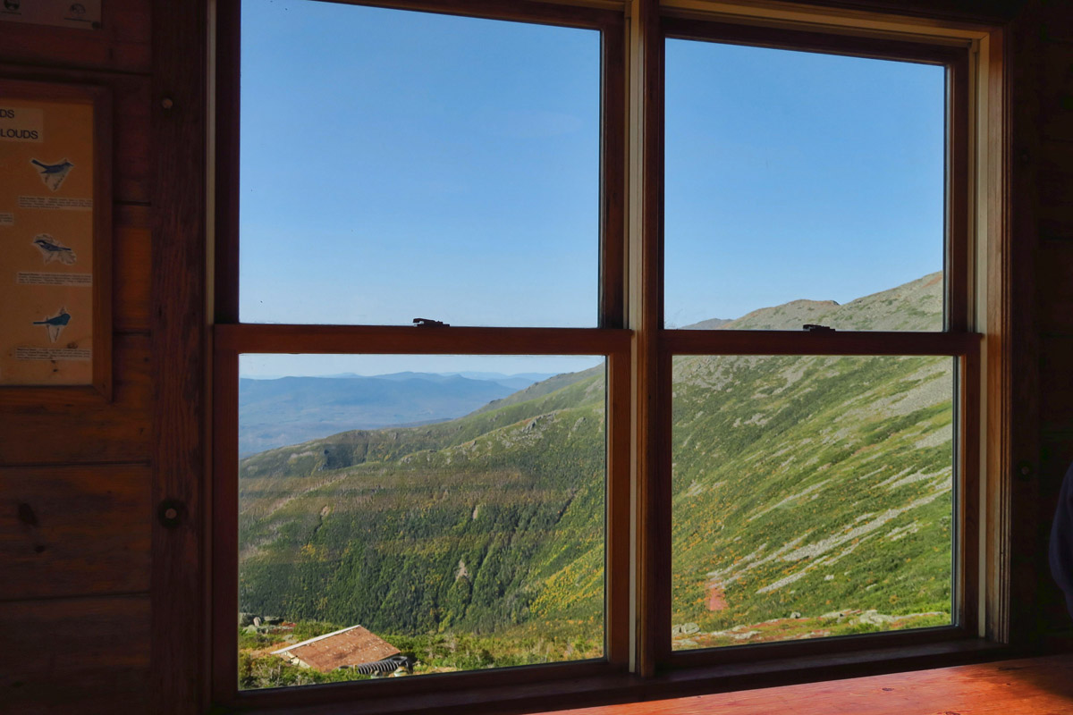 View from the dining room of Lake of the Clouds hut.