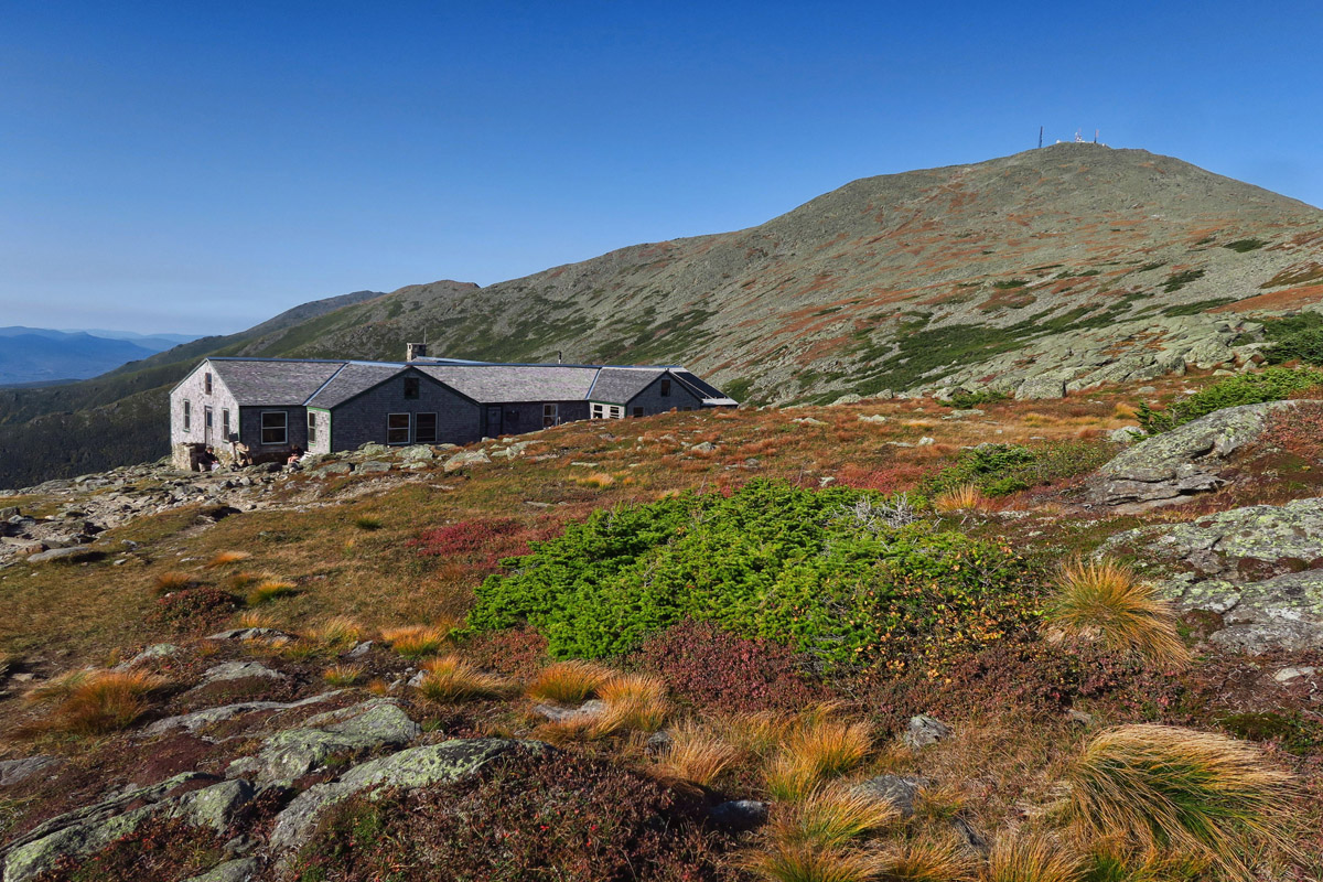 Arriving at Lake of the Clouds hut, at elev. 5,003', the highest elevation of the huts. It started out as a shelter in 1901 in response to deaths on Mt. Washington due to extreme weather conditions.