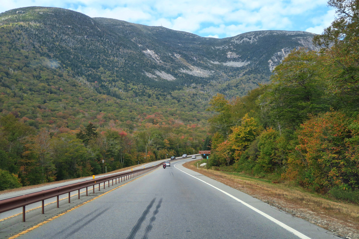 Driving northbound on New Hampshire's Hwy 93 through Franconia Notch.
