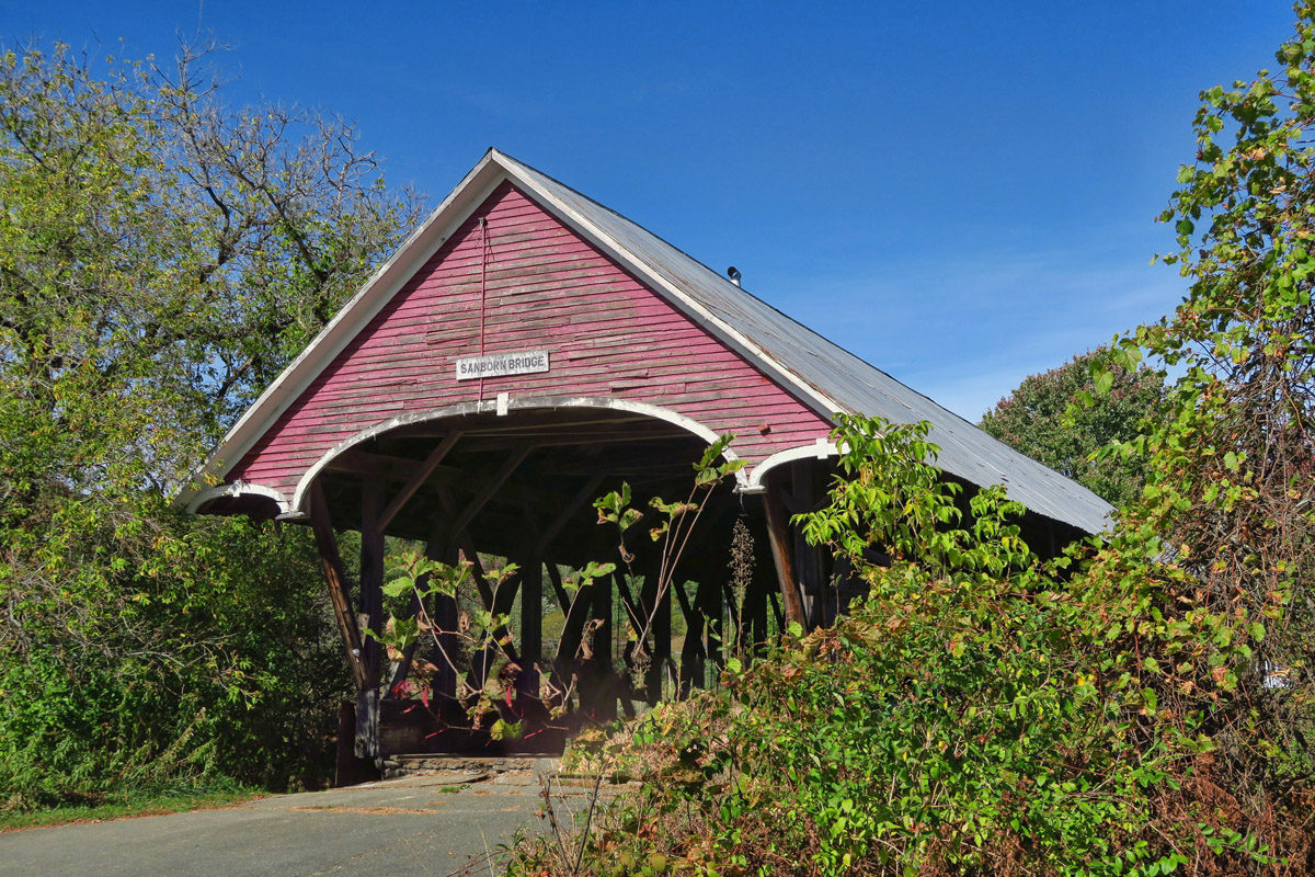 "Lyndon is the ""covered bridge capital"" of Vermont's Northeast Kingdom. This one is the Sanborn Bridge, built in 1869 and moved across town in 1960."