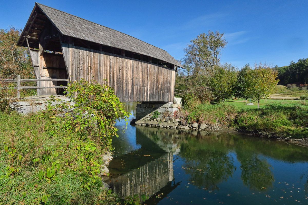 "Most covered bridges were built for use on public highways. This is the last original ""farm bridge,"" built for agricultural access remaining in Vermont."