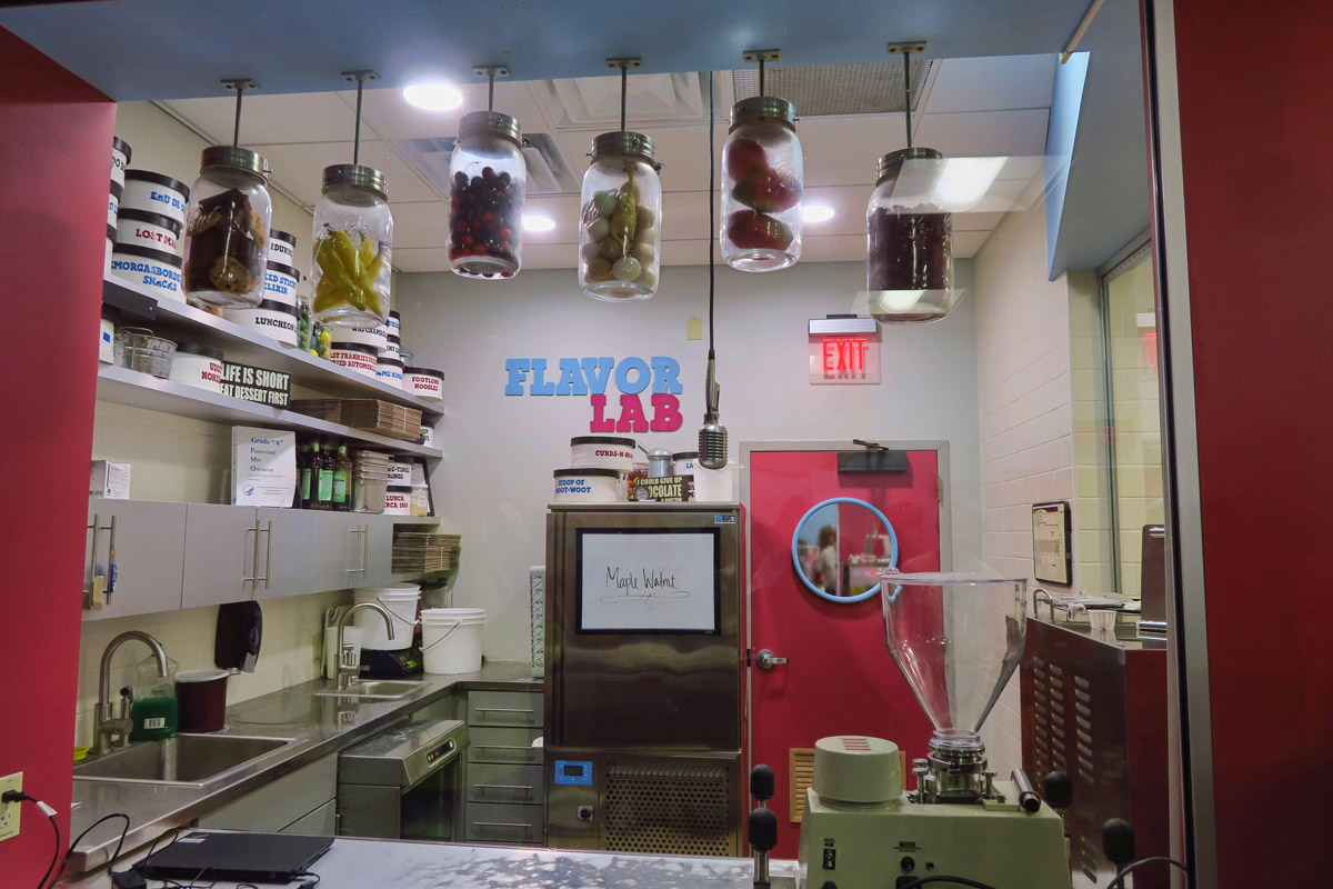 "This is the ""Flavor Lab"" where new flavors are tested. The current flavor is ""Maple Walnut,"" made with local Vermont maple syrup. It is the only maple ice cream I've ever tasted where the maple flavor didn't taste fake."
