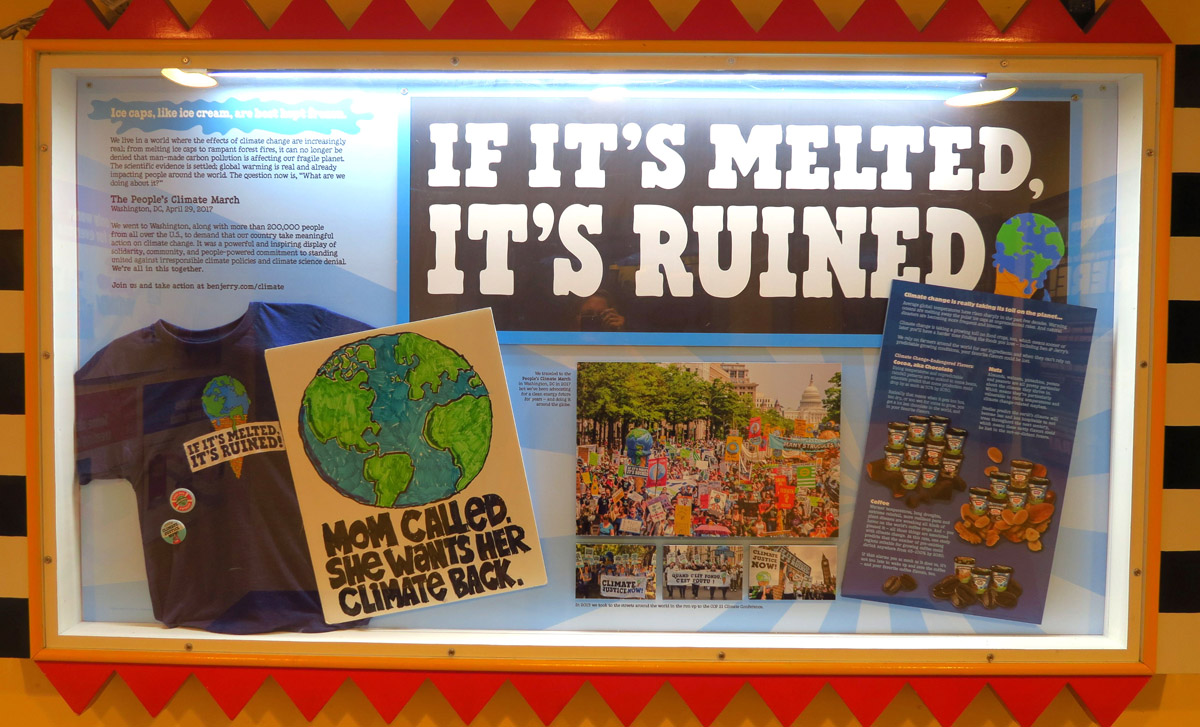 "Though now owned by a corporation, the company has maintained its focus on social issues, most recently participating in the Climate Change March on Washington with the slogan, ""If it's melted, it's ruined."""