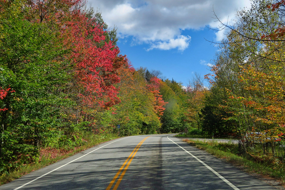 Highway 100 is just what I had hoped for on a drive through Vermont...no one there!