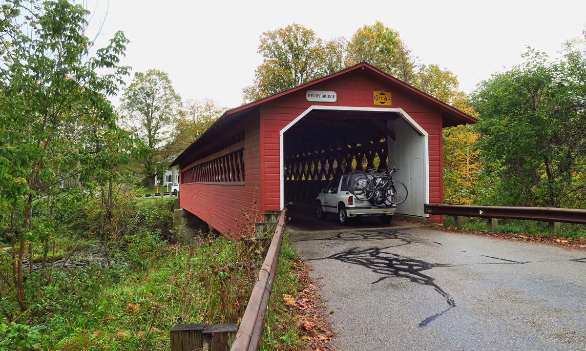 Bennington's three in-town covered bridges, this one the Henry Bridge, built 1835.