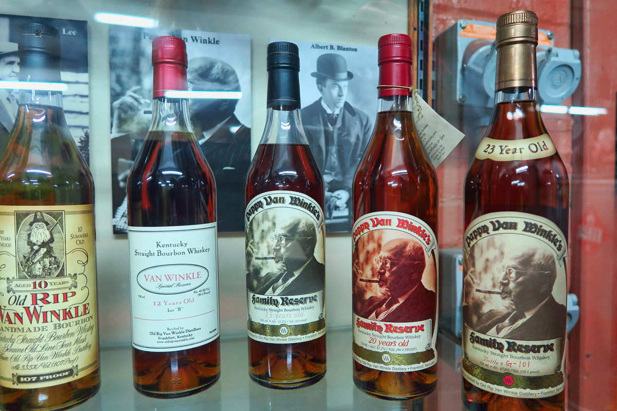 "Of the three distilleries, by far the longest aged and most expensive was Buffalo Trace's ""Pappy Van Winkle"" aged for 23 years, with a price tag that can bring up into the thousands."