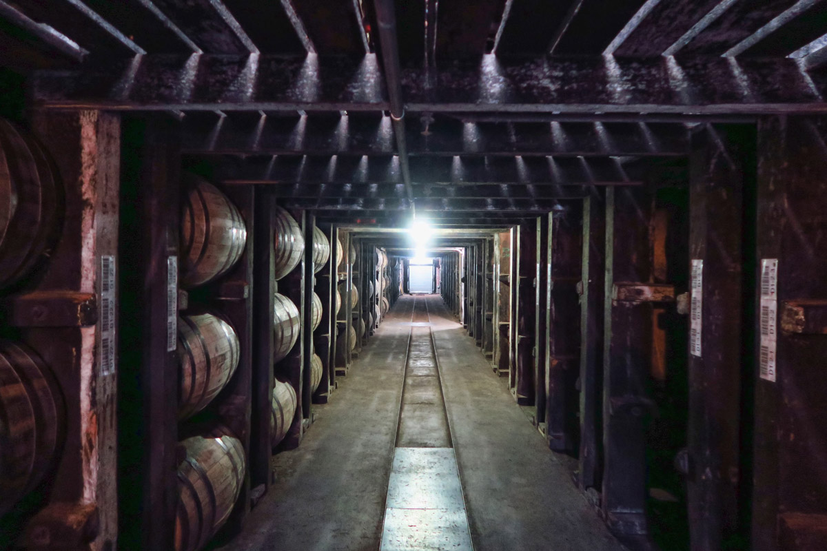 Multilevel warehouses store over 5 million barrels of bourbon.
