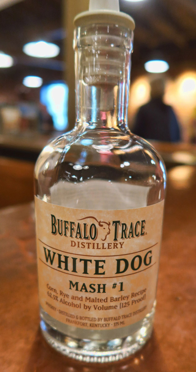 """White Dog,"" which is the clear distillate before it goes into the oak bottle for aging."