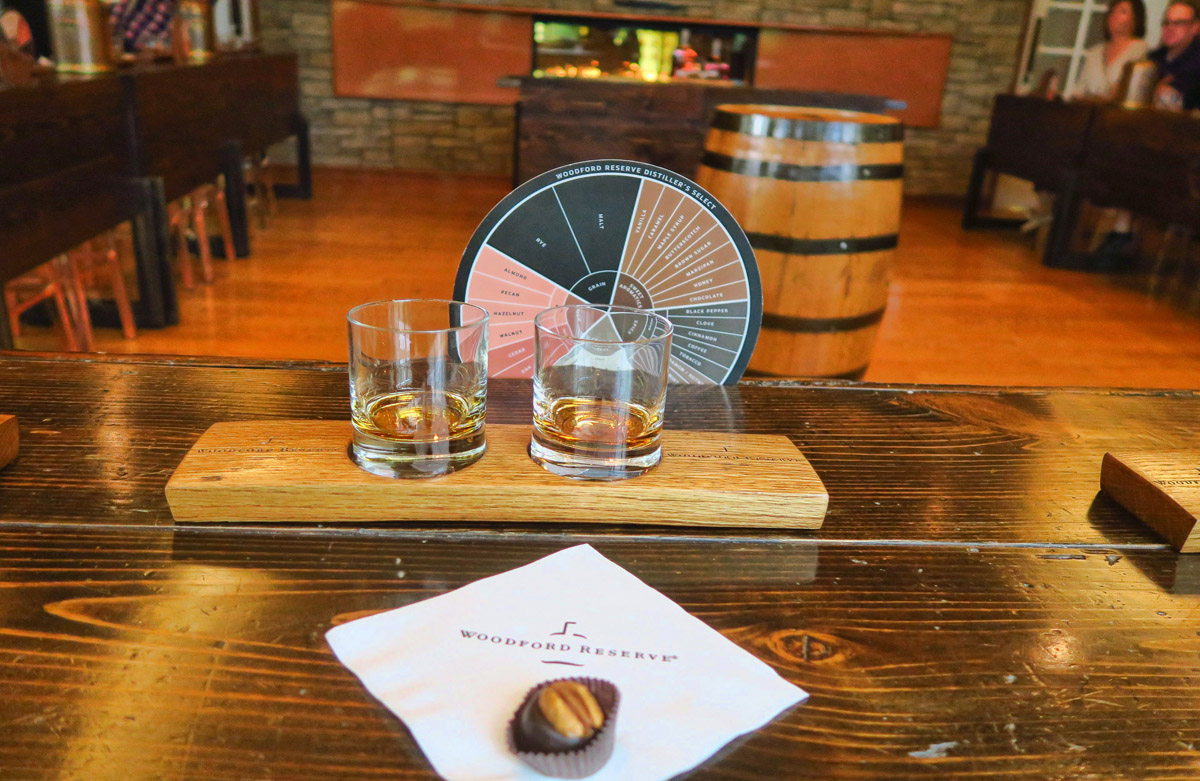 Woodford Reserve tasting. All three distilleries include chocolate covered bourbon balls. The chocolate accentuates the spiciness of the bourbon.