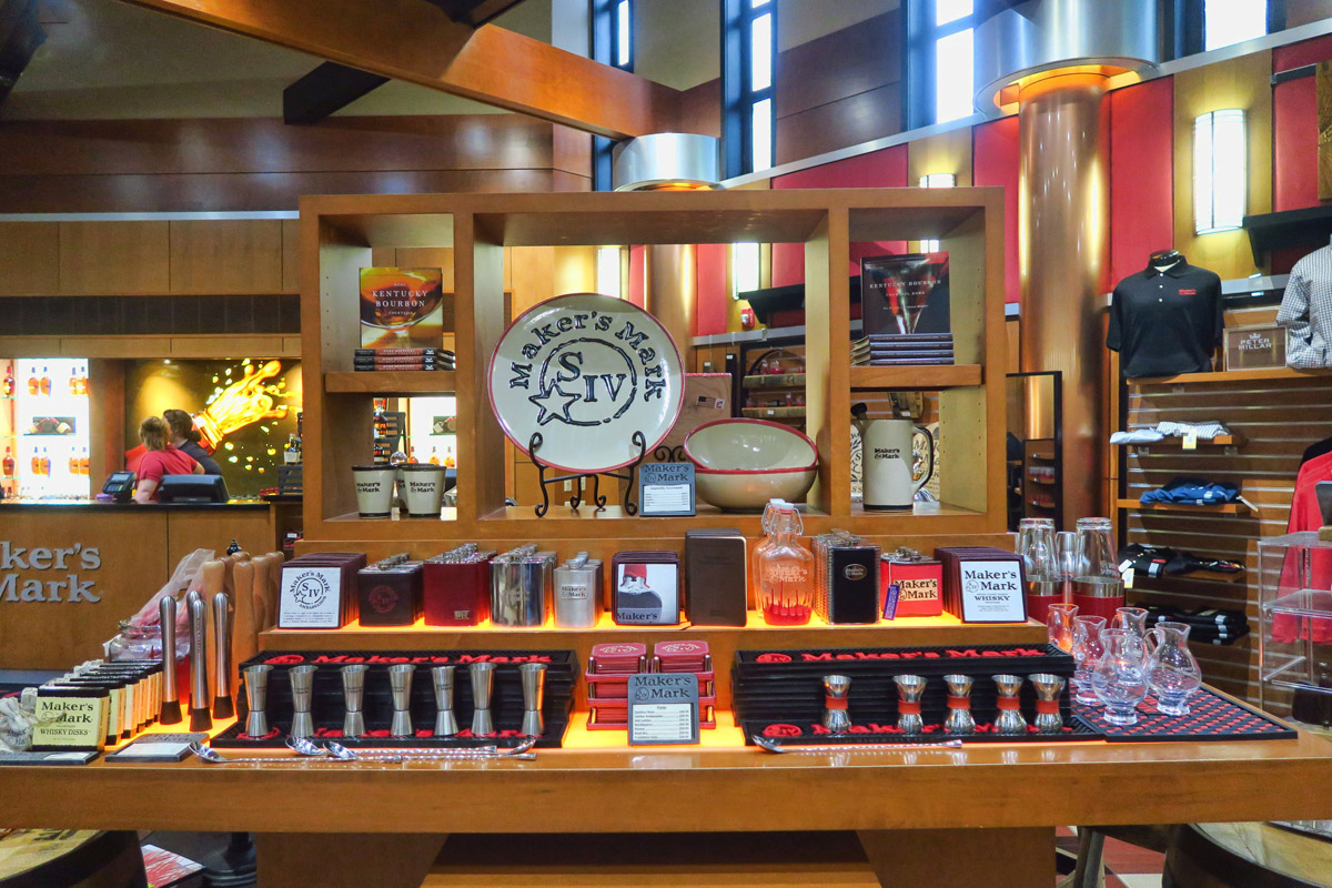 Lots of novelties for sale in the expansive Maker's Mark Gift Shop.