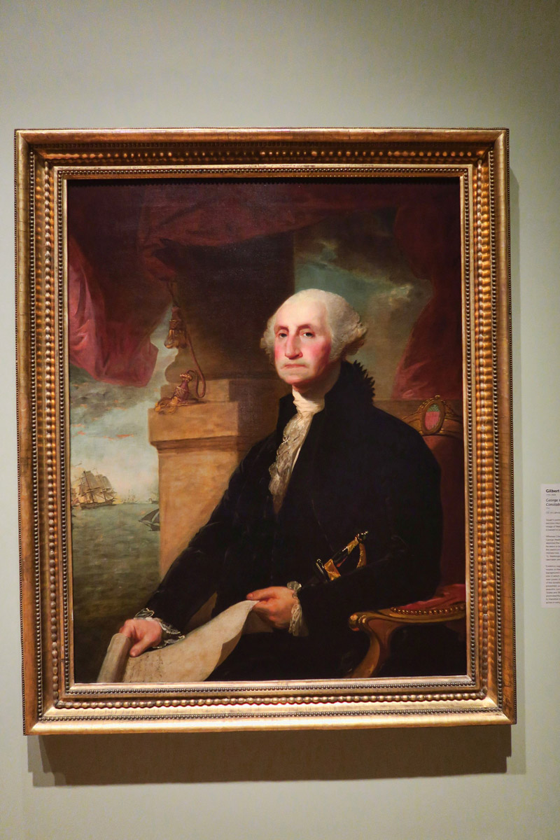 This should look familiar.... Gilbert Stuart's portrait of George Washington currently portrayed on the United States one dollar bill.