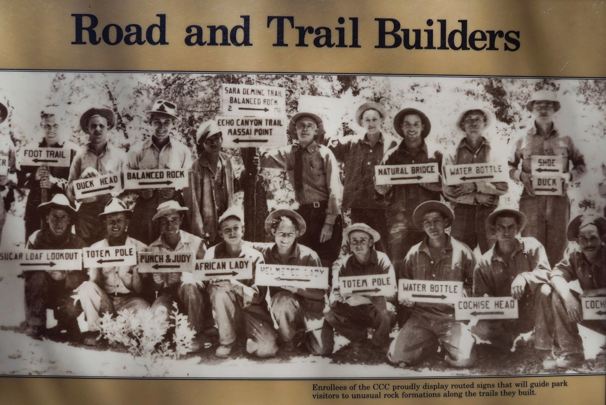 Just some of the 180 men of the CCC that built trails throughout the park from 1934 to 1940. Note signs to indicate landmark rocks.
