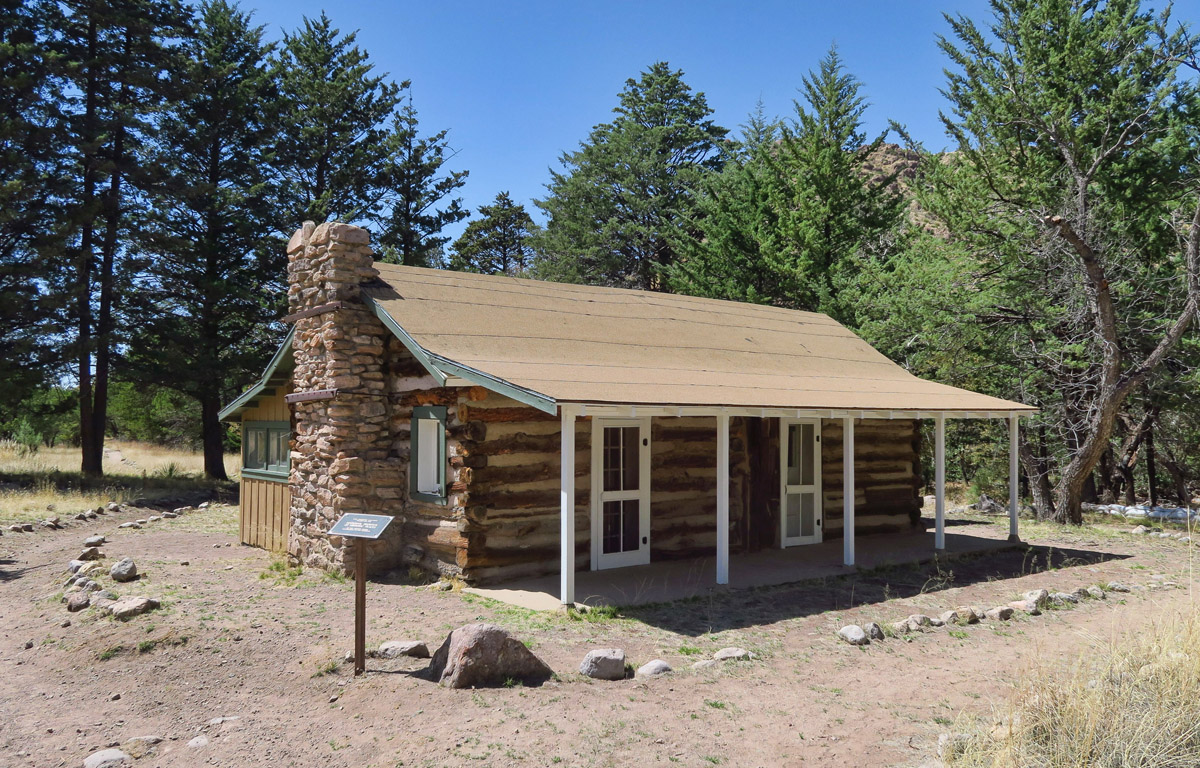 The Stafford Cabin, a 110-year-old log and frame homestead cabin on the grounds of Chiricahua National Monument.