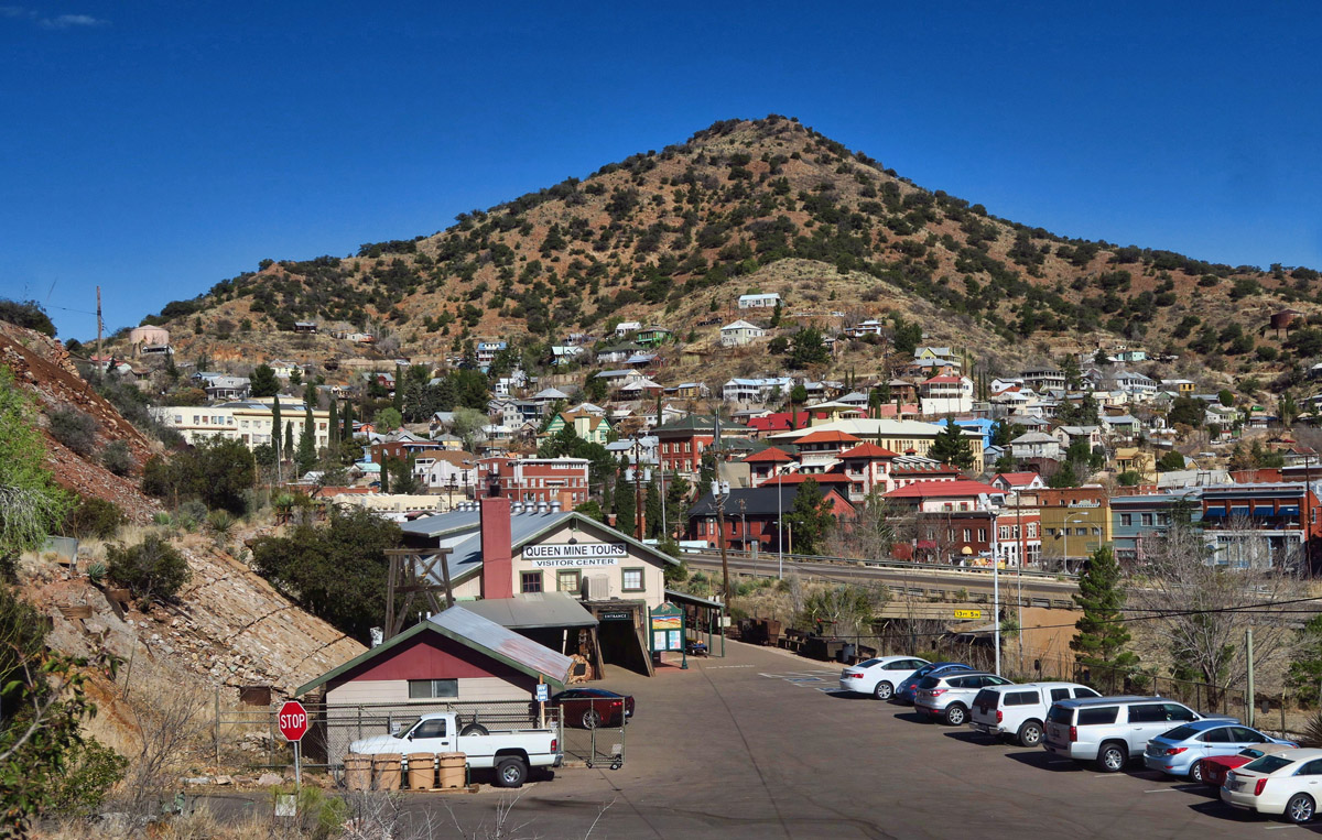 The little Queen Mine RV Park is a gravel platform overlooking the historic town of Bisbee on one side...