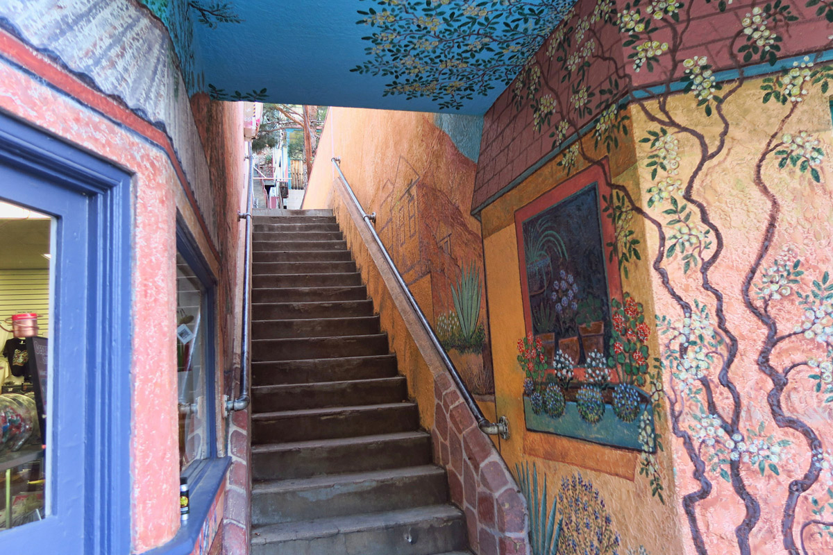 Another of Bisbee's fun quirks are their many staircases that wind through the hillside homes.