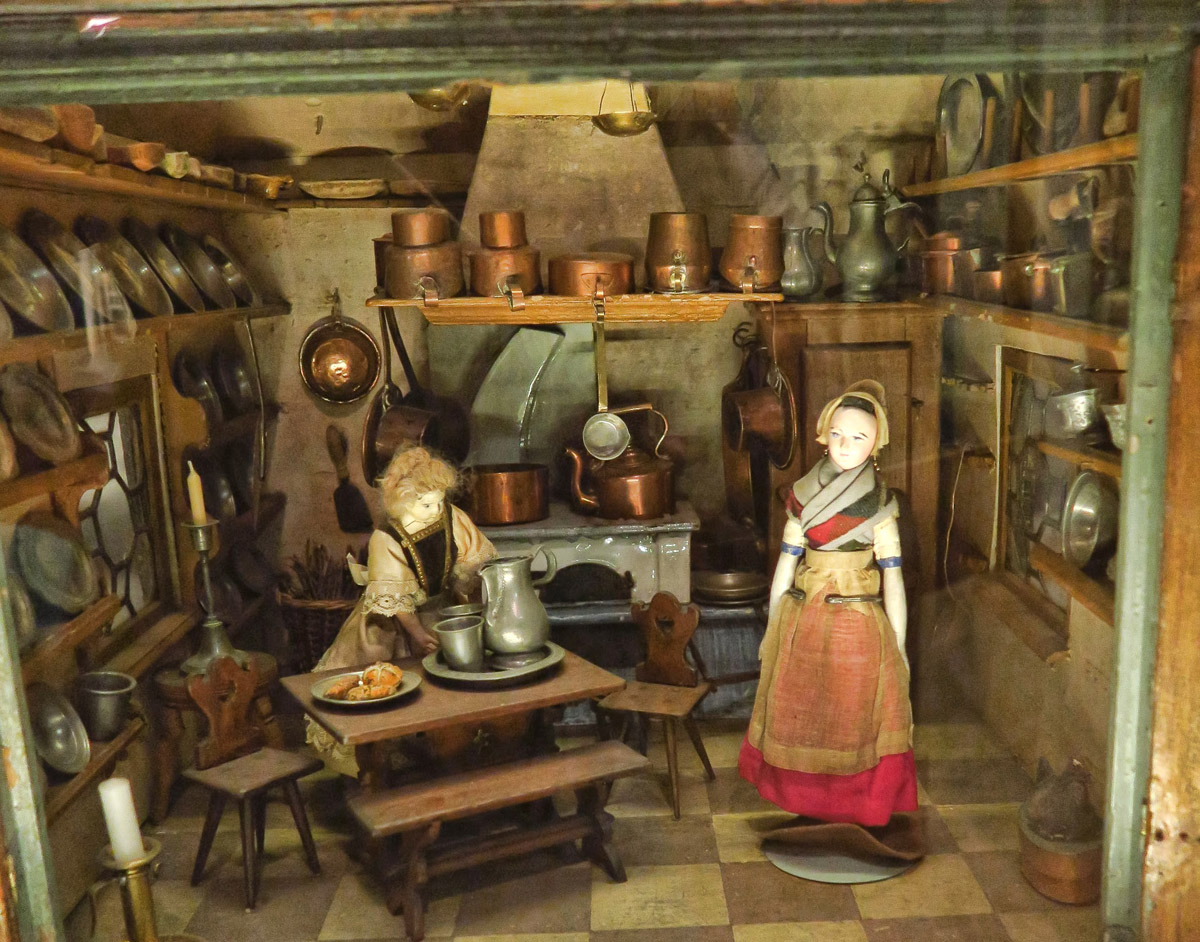 This kitchen is the oldest piece in the museum, built in 1742, long before the miniature scale standard of 1:12 was established.