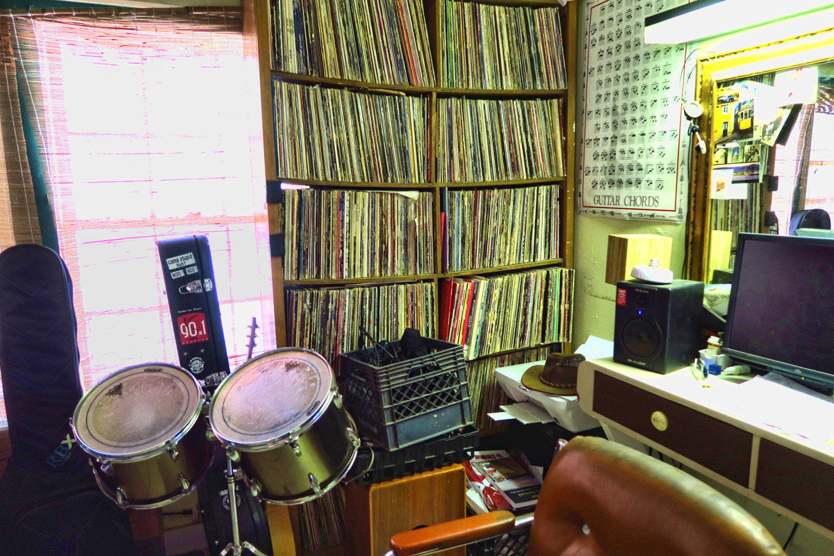 """Where has all the vinyl gone? The band has an """"office"""" in the back of the restaurant."""