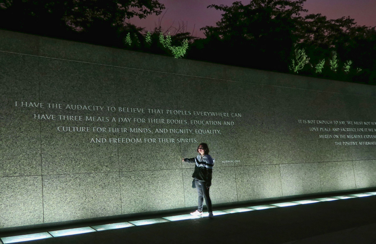 MLK's memorial statue is surrounded by inspirational quotes.